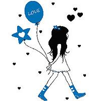Zidni tatoo Girl With Baloons D06 90x120cm 060606 0071B5 - Kliknite za detalje
