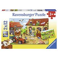 Ravensburger puzzle  Dečije puzle - 2x12 - Working on the Farm  2x12 delova  RA07560 - Kliknite za detalje