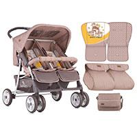 Lorelli Kolica za blizance Twin Beige And Yellow Happy Family - Kliknite za detalje