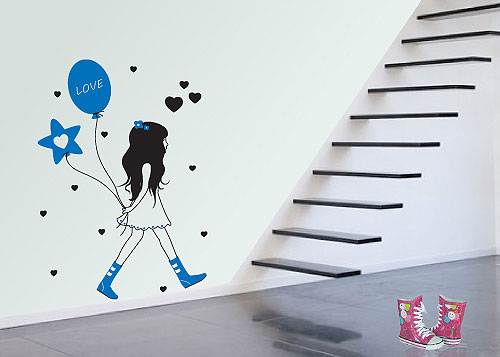 Zidni tatoo Girl With Baloons D06 60x80cm 00A896 FF99FF