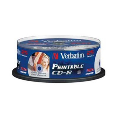 Verbatim CD-R 52X 700 SP 1/25 Printable