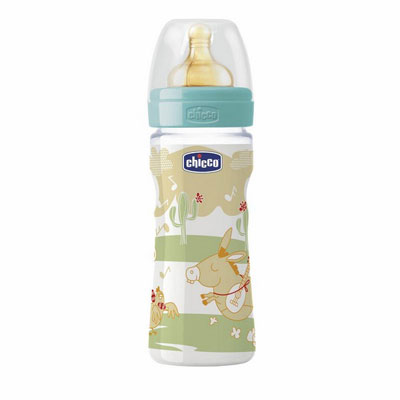 Chicco plastična flašica sa kaučuk cuclom Well-Being 250ml  2m+  00070704000000