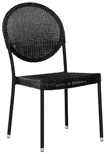 Stolica od Wicker Ratana Ginger Sidechair Charcoal Black