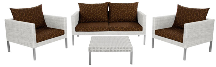 Lounge Set Oregano Vanila White - 2 Fotelje + Dvosed + Sto + Jastuci