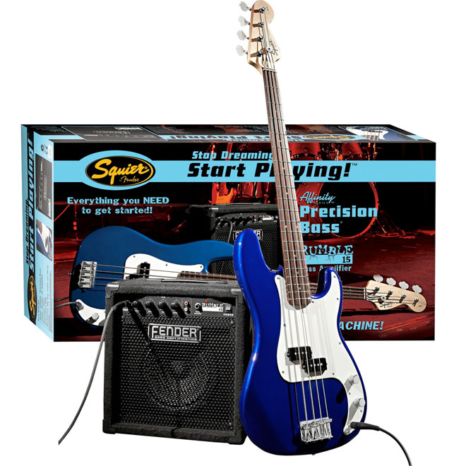 Bas gitara Squier By Fender Affinity P Bass w i pojačalo Rumble 15 Amp Metallic Blue