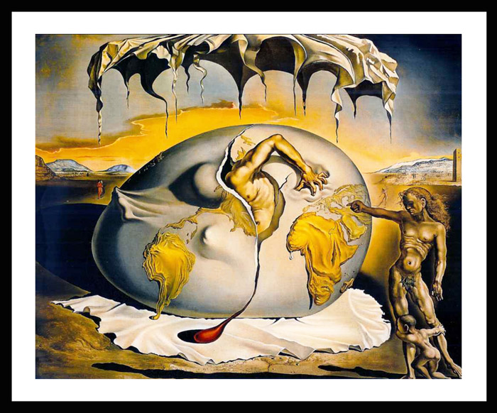 Reprodukcija slike sa paspartuom Geopoliticus Child Watching the Birth of the New Man (The Egg) Salvador Dali