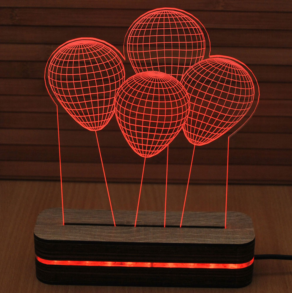 Black Cut 3D Noćna LED lampa Red Baloons B001RED