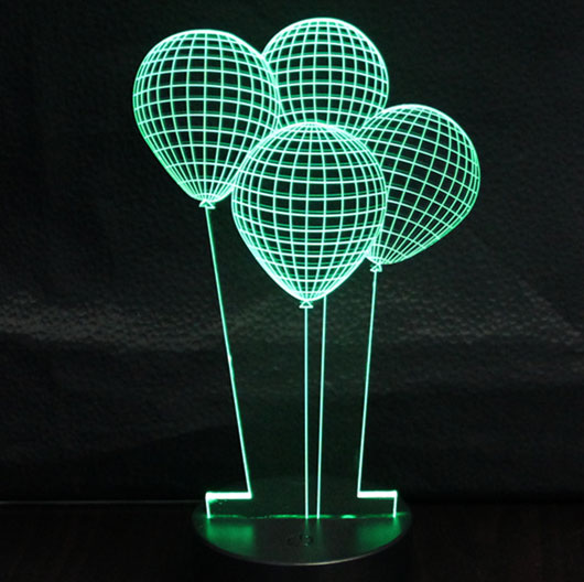 LED Lampa 3D - noćno svetlo - Illusions by Black Cut Green Balloons