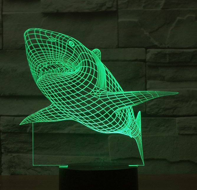 Black Cut 3D LED Lampa Green Shark