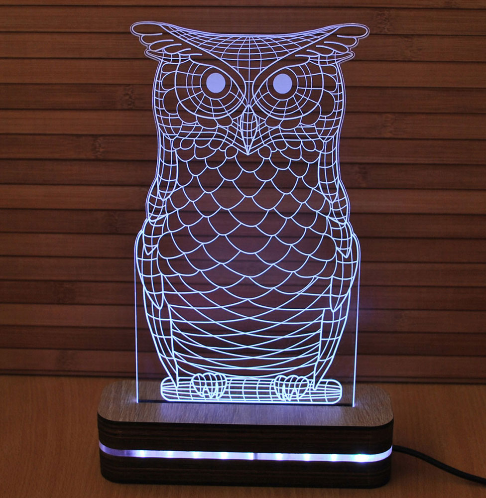 3D LED Lampa Illusions by Black Cut White Owl