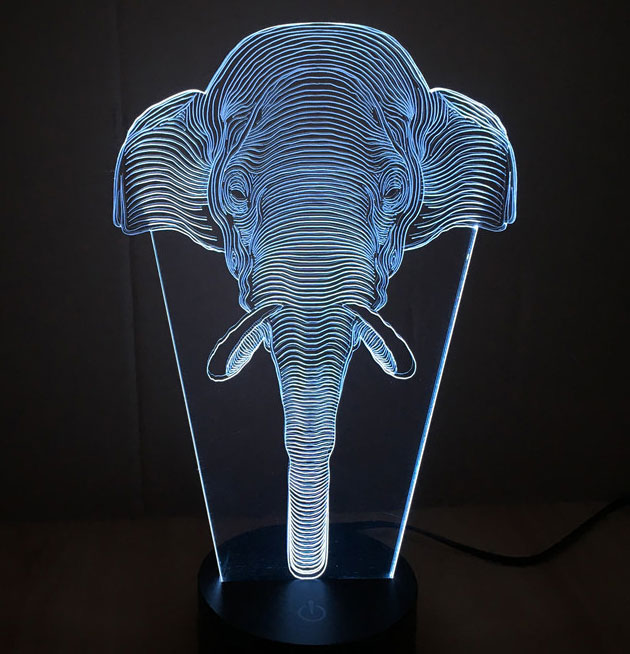 3D LED Lampa Illusions by Black Cut Elephant Cold White