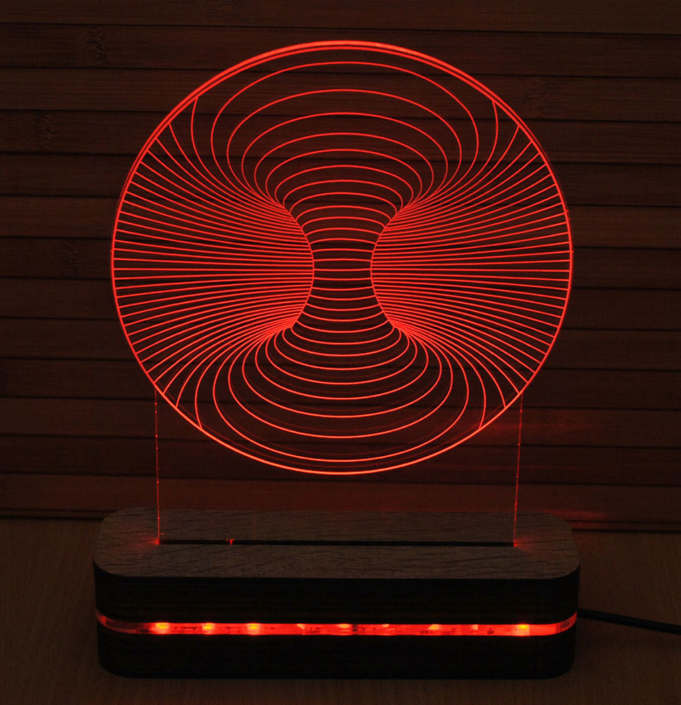 Black Cut 3D LED Lampa Vortex Multicolor - 9 boja