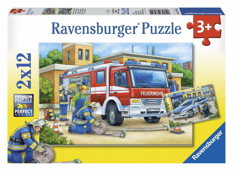 Ravensburger puzzle  Dečije puzle - 2x12 - Police and Firefighters  2x12 delova  RA07574