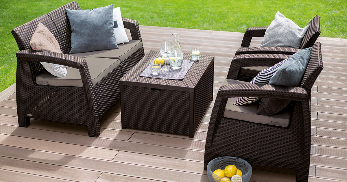 Baštenska Garnitura Allibert Corfu II Box - 2 Fotelje, Dvosed, Sto